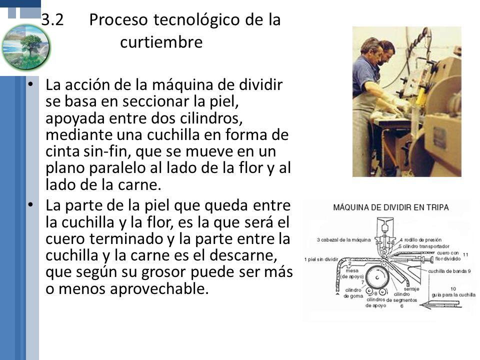 3.2Proceso tecnológico de la curtiembre La acción de la máquina de dividir se basa en seccionar la piel, apoyada entre dos cilindros, mediante una cuc