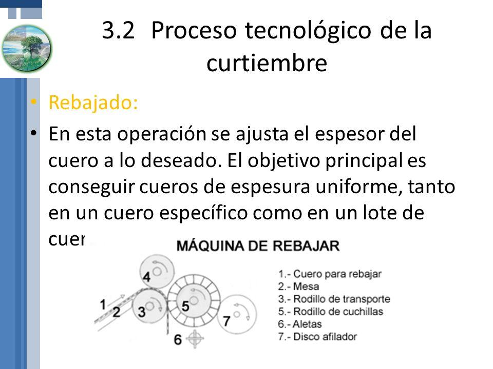 3.2Proceso tecnológico de la curtiembre Rebajado: En esta operación se ajusta el espesor del cuero a lo deseado. El objetivo principal es conseguir cu