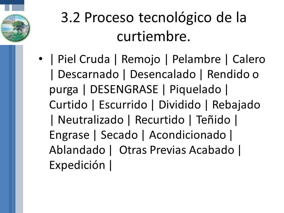 3.2 Proceso tecnológico de la curtiembre. | Piel Cruda | Remojo | Pelambre | Calero | Descarnado | Desencalado | Rendido o purga | DESENGRASE | Piquel