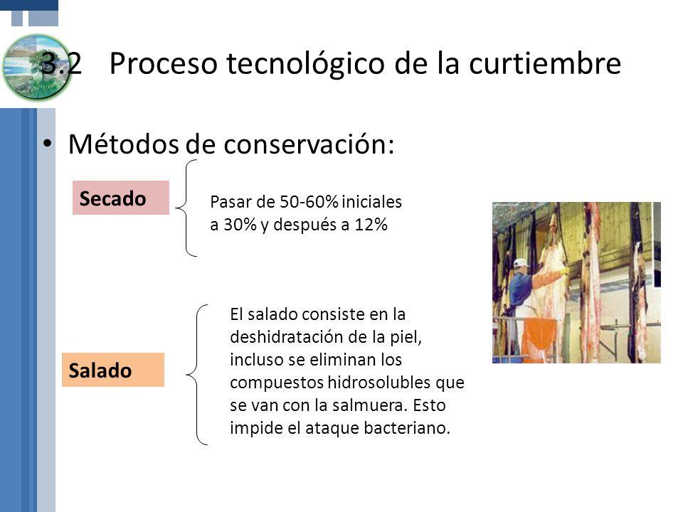 Métodos de conservación: 3.2Proceso tecnológico de la curtiembre Salado Secado Pasar de 50-60% iniciales a 30% y después a 12% El salado consiste en l
