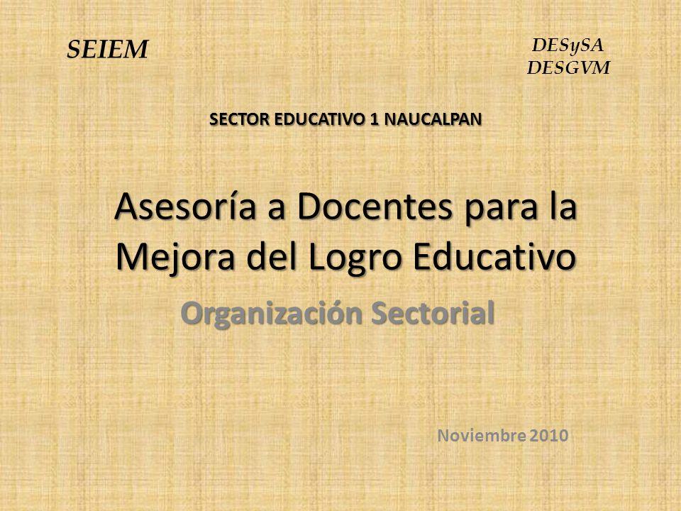 SECTOR EDUCATIVO 1 NAUCALPAN Asesoría a Docentes para la Mejora del Logro Educativo Organización Sectorial Noviembre 2010 SEIEM DESySA DESGVM