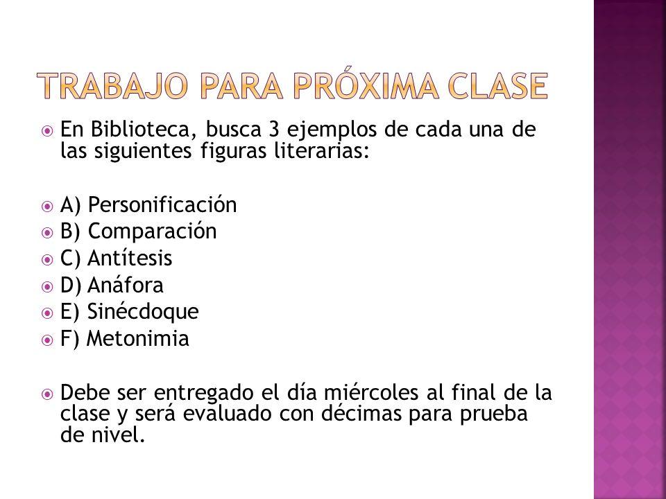 En Biblioteca, busca 3 ejemplos de cada una de las siguientes figuras literarias: A) Personificación B) Comparación C) Antítesis D) Anáfora E) Sinécdo
