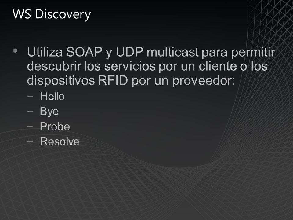 WS Discovery Utiliza SOAP y UDP multicast para permitir descubrir los servicios por un cliente o los dispositivos RFID por un proveedor: Hello Bye Probe Resolve