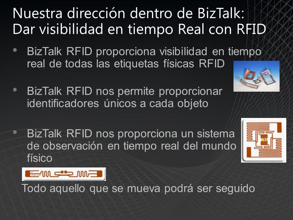 Nuestra dirección dentro de BizTalk: Dar visibilidad en tiempo Real con RFID BizTalk RFID proporciona visibilidad en tiempo real de todas las etiquetas físicas RFID BizTalk RFID nos permite proporcionar identificadores únicos a cada objeto BizTalk RFID nos proporciona un sistema de observación en tiempo real del mundo físico Todo aquello que se mueva podrá ser seguido
