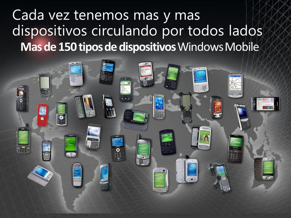 Mas de 150 tipos de dispositivos Windows Mobile Cada vez tenemos mas y mas dispositivos circulando por todos lados