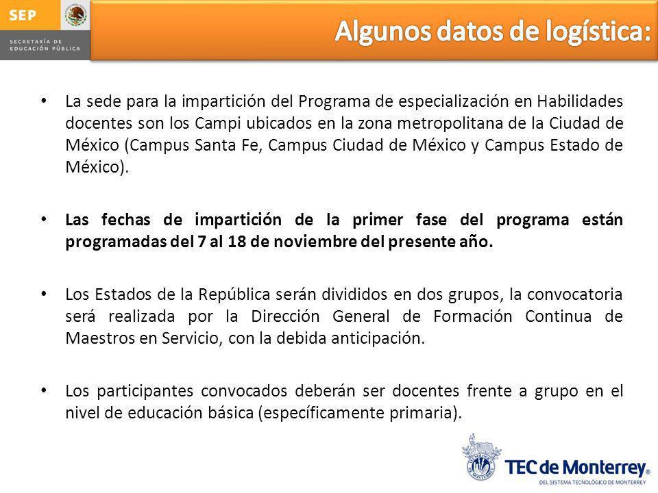 La sede para la impartición del Programa de especialización en Habilidades docentes son los Campi ubicados en la zona metropolitana de la Ciudad de México (Campus Santa Fe, Campus Ciudad de México y Campus Estado de México).
