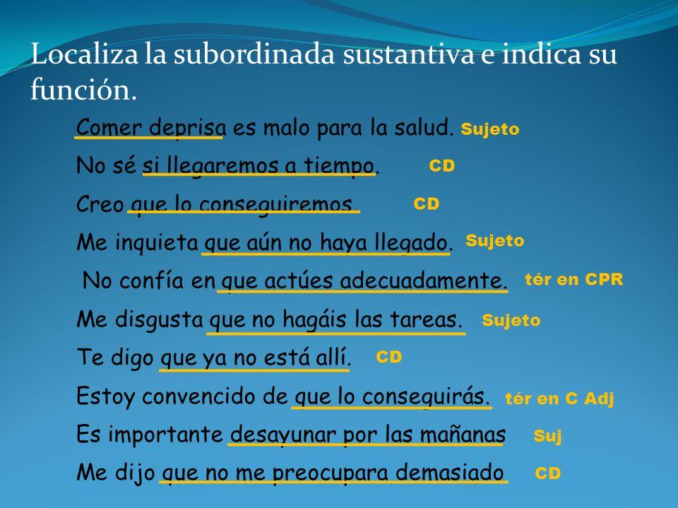 Localiza la subordinada sustantiva e indica su función.