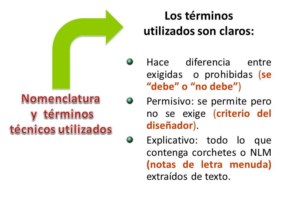 Los términos utilizados son claros: Hace diferencia entre exigidas o prohibidas (se debe o no debe) Permisivo: se permite pero no se exige (criterio d
