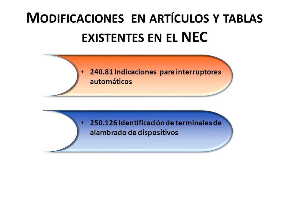 M ODIFICACIONES EN ARTÍCULOS Y TABLAS EXISTENTES EN EL NEC 240.81 Indicaciones para interruptores automáticos 250.126 Identificación de terminales de