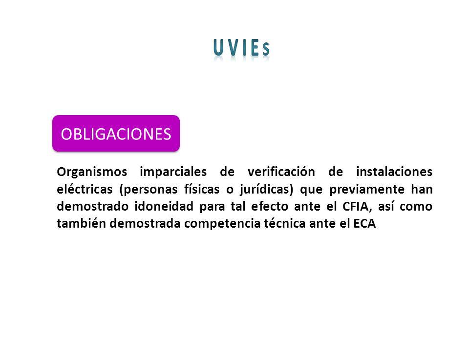 OBLIGACIONES Organismos imparciales de verificación de instalaciones eléctricas (personas físicas o jurídicas) que previamente han demostrado idoneida