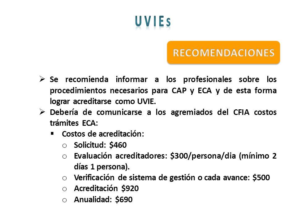 Se recomienda informar a los profesionales sobre los procedimientos necesarios para CAP y ECA y de esta forma lograr acreditarse como UVIE. Debería de