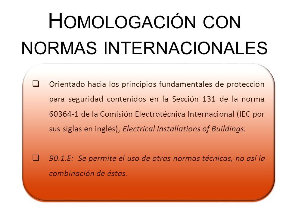 Orientado hacia los principios fundamentales de protección para seguridad contenidos en la Sección 131 de la norma 60364-1 de la Comisión Electrotécni