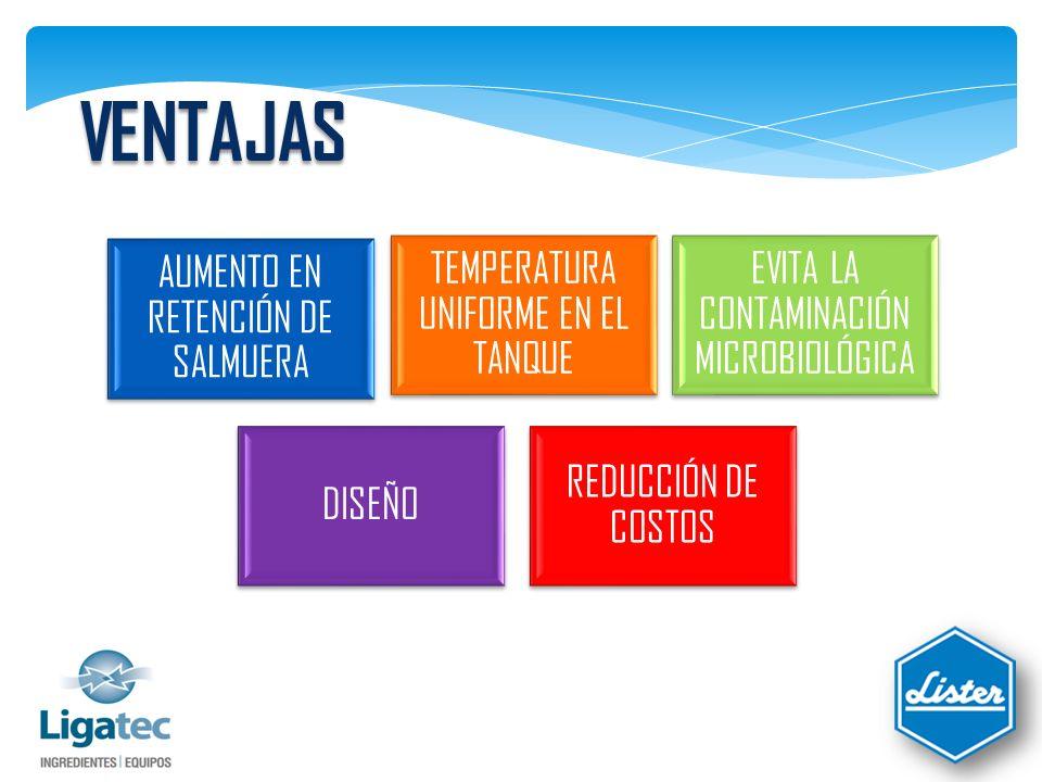AUMENTO EN RETENCIÓN DE SALMUERA Se mantiene la concentración de las sales y fosfatos en la mezcla.