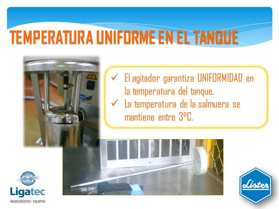 TEMPERATURA UNIFORME EN EL TANQUE El agitador garantiza UNIFORMIDAD en la temperatura del tanque.