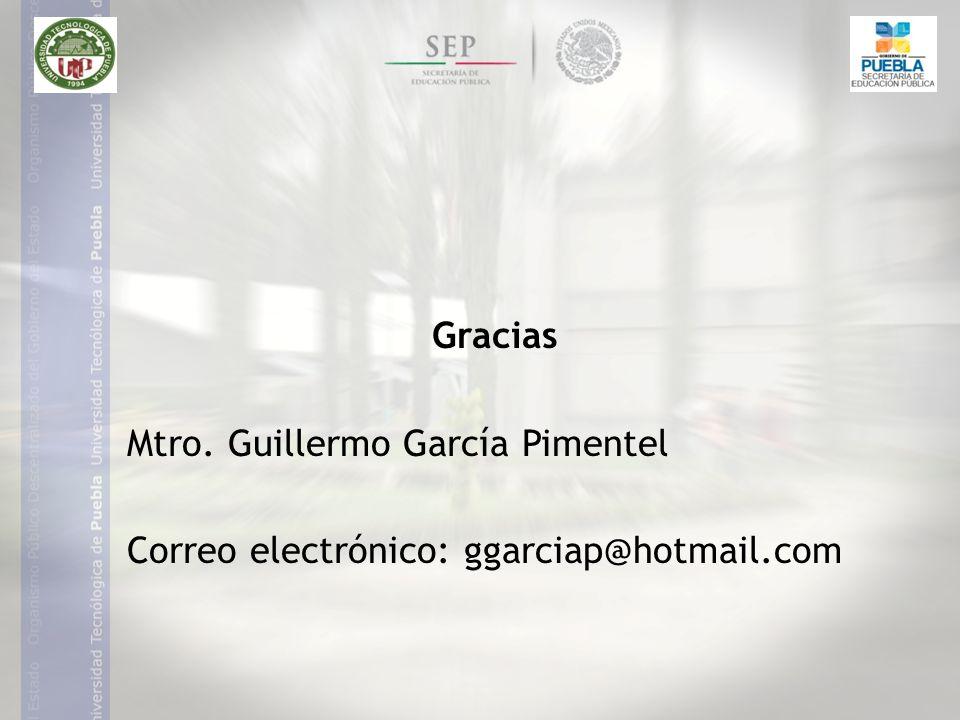 Gracias Mtro. Guillermo García Pimentel Correo electrónico: ggarciap@hotmail.com