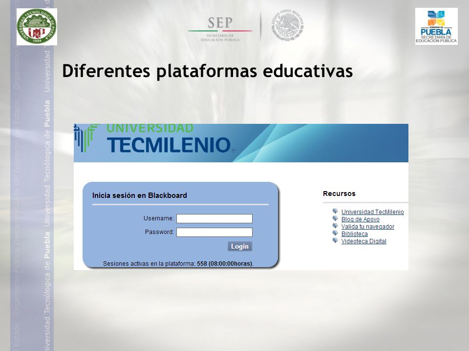 Diferentes plataformas educativas