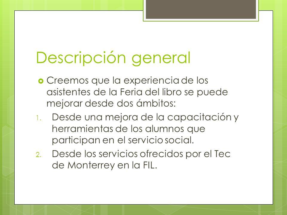 Descripción general Creemos que la experiencia de los asistentes de la Feria del libro se puede mejorar desde dos ámbitos: 1.