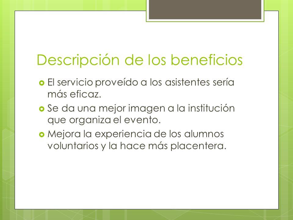 Descripción de los beneficios El servicio proveído a los asistentes sería más eficaz. Se da una mejor imagen a la institución que organiza el evento.