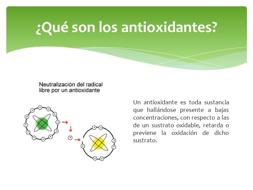¿Qué son los antioxidantes? Un antioxidante es toda sustancia que hallándose presente a bajas concentraciones, con respecto a las de un sustrato oxida
