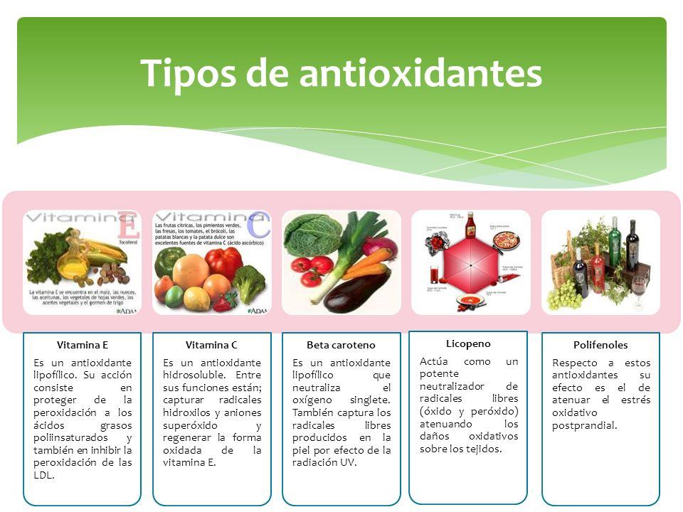 Tipos de antioxidantes Vitamina E Es un antioxidante lipofílico. Su acción consiste en proteger de la peroxidación a los ácidos grasos poliinsaturados
