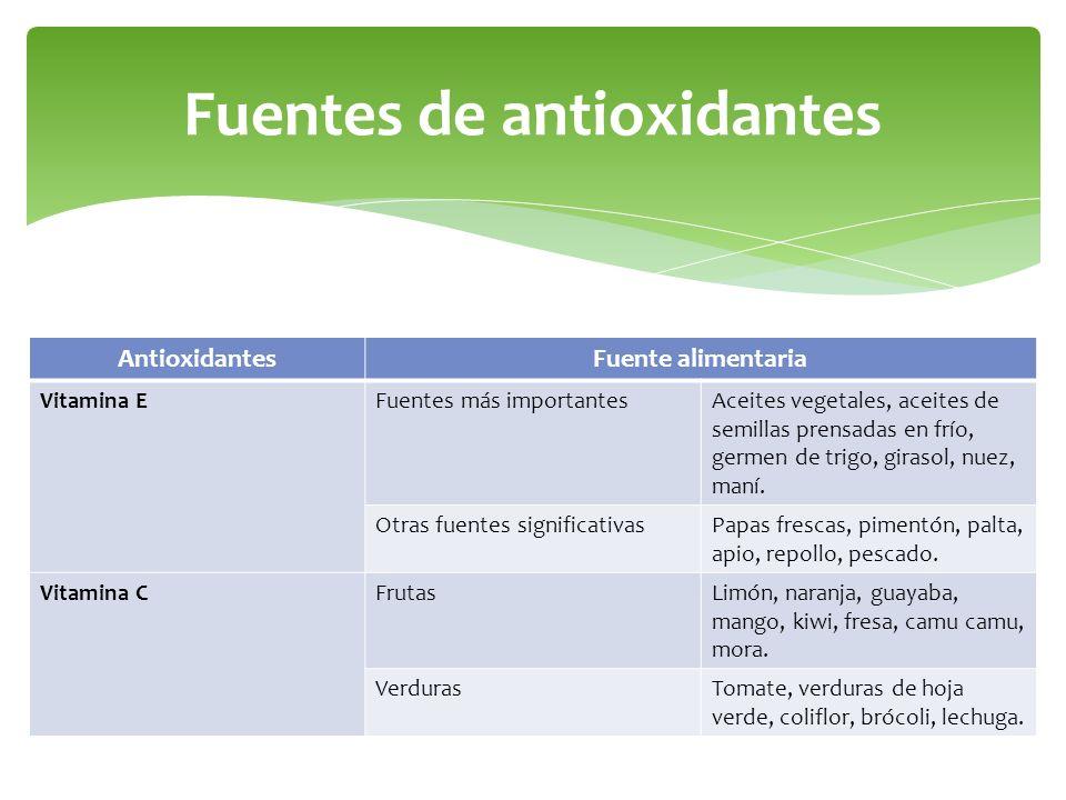 Fuentes de antioxidantes AntioxidantesFuente alimentaria Vitamina EFuentes más importantesAceites vegetales, aceites de semillas prensadas en frío, ge