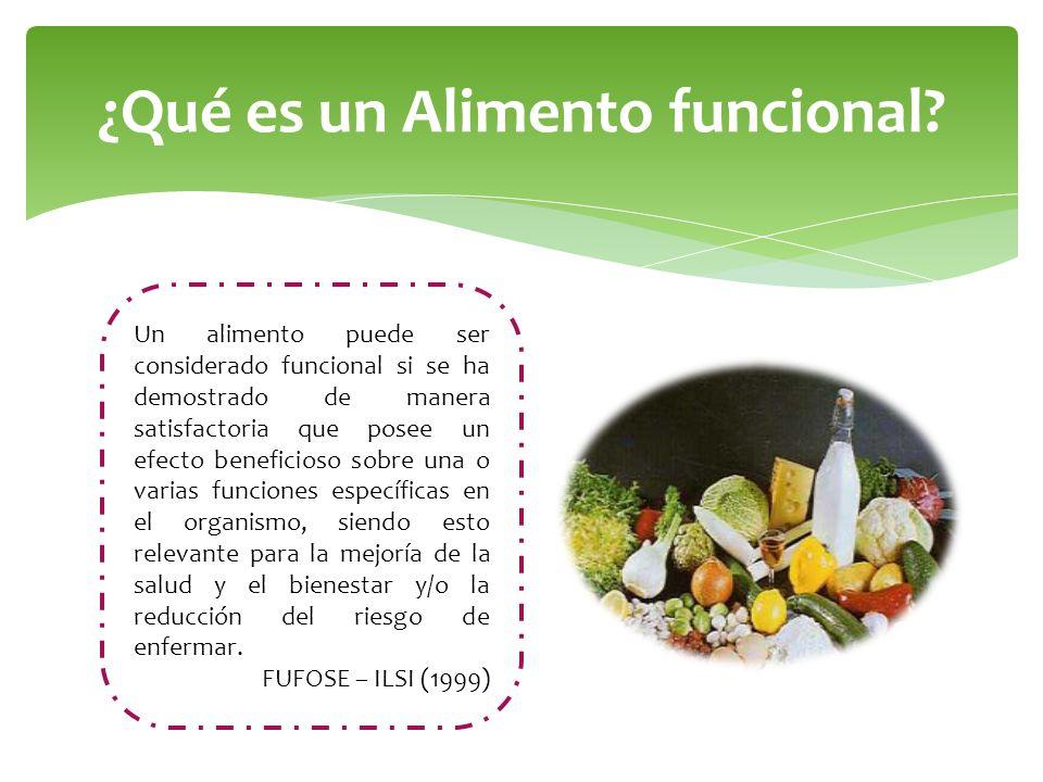 ¿Qué es un Alimento funcional? Un alimento puede ser considerado funcional si se ha demostrado de manera satisfactoria que posee un efecto beneficioso