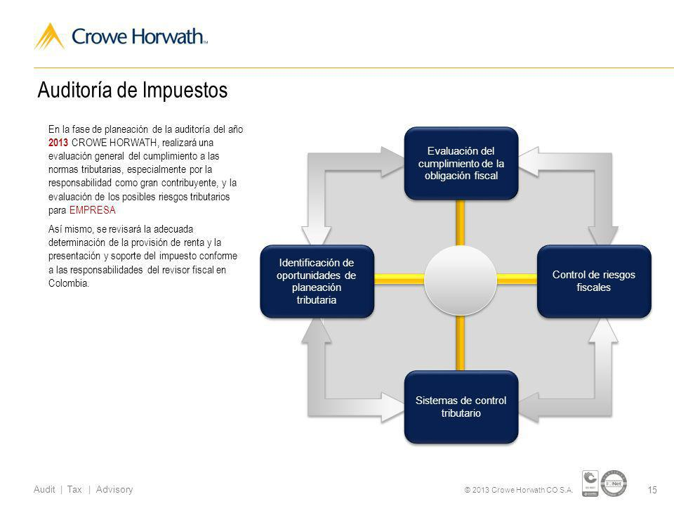 15 Audit | Tax | Advisory © 2013 Crowe Horwath CO S.A.