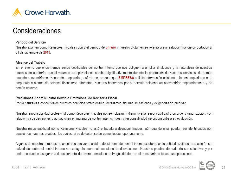21 Audit | Tax | Advisory © 2013 Crowe Horwath CO S.A.