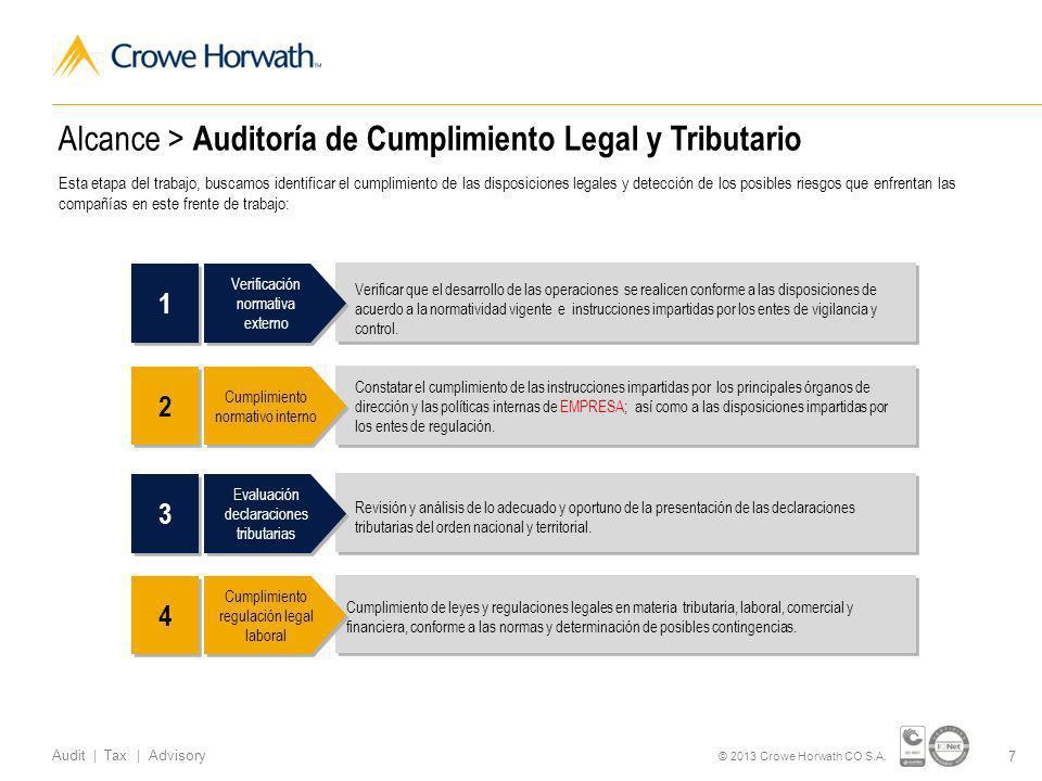 www.crowehorwath.com.co Audit | Tax | Advisory Certificado de Gestión de Calidad Propuesta de Negocios Propuesta Económica