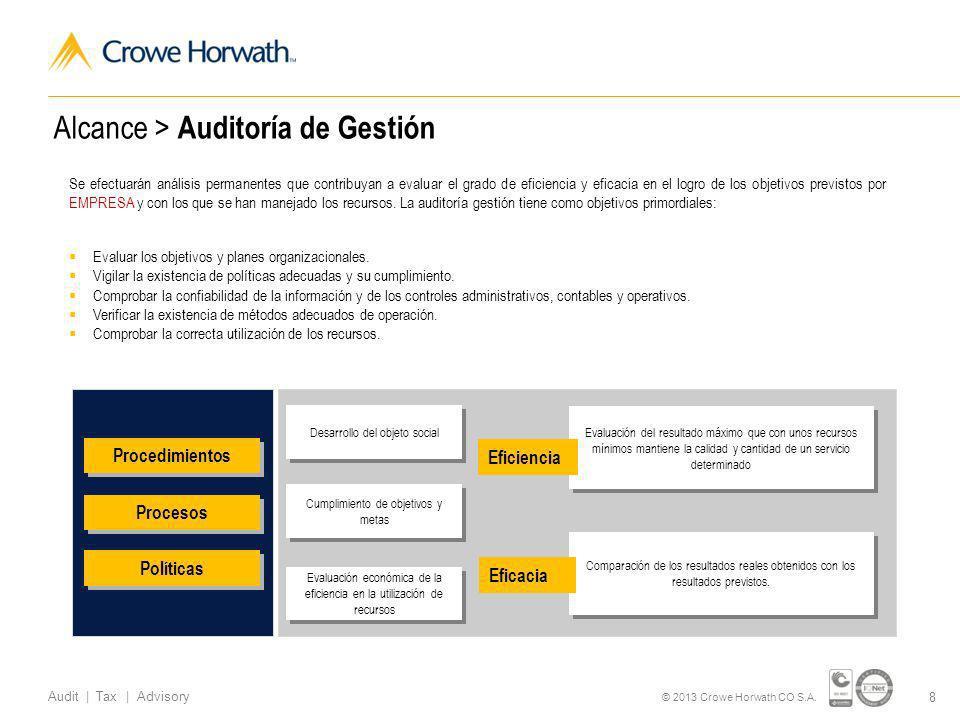 19 Audit | Tax | Advisory © 2013 Crowe Horwath CO S.A.