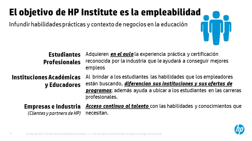 © Copyright 2012 Hewlett-Packard Development Company, L.P. The information contained herein is subject to change without notice. 10 Infundir habilidad