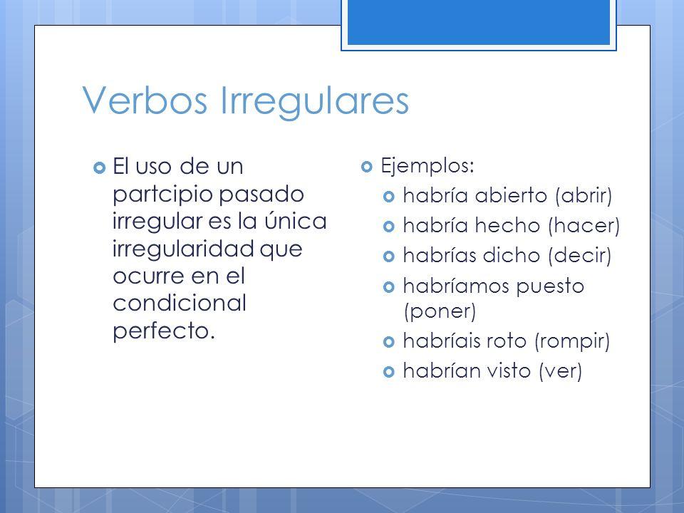 Verbos Irregulares El uso de un partcipio pasado irregular es la única irregularidad que ocurre en el condicional perfecto. Ejemplos: habría abierto (