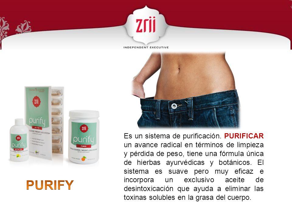 Es un sistema de purificación. PURIFICAR un avance radical en términos de limpieza y pérdida de peso, tiene una fórmula única de hierbas ayurvédicas y