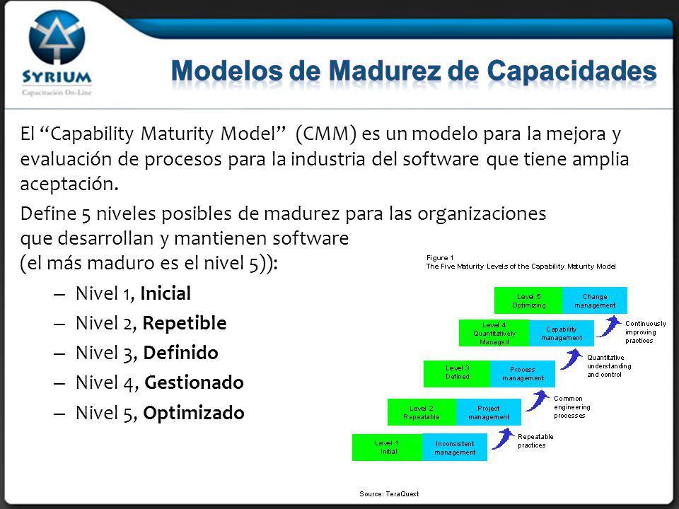El Capability Maturity Model (CMM) es un modelo para la mejora y evaluación de procesos para la industria del software que tiene amplia aceptación.