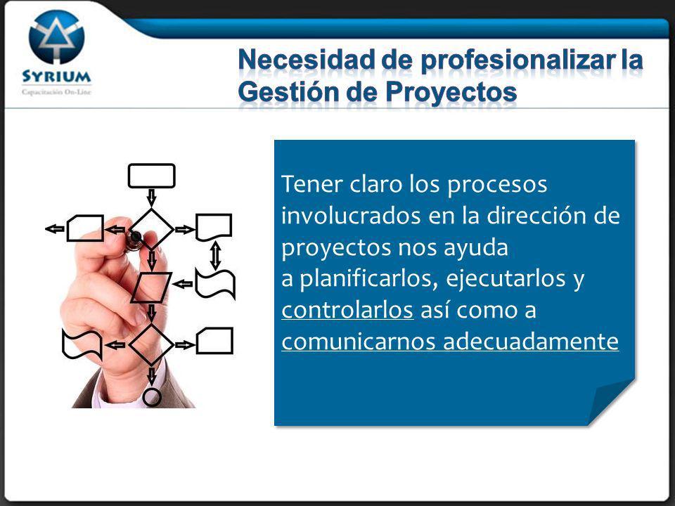 Tener claro los procesos involucrados en la dirección de proyectos nos ayuda a planificarlos, ejecutarlos y controlarlos así como a comunicarnos adecuadamente