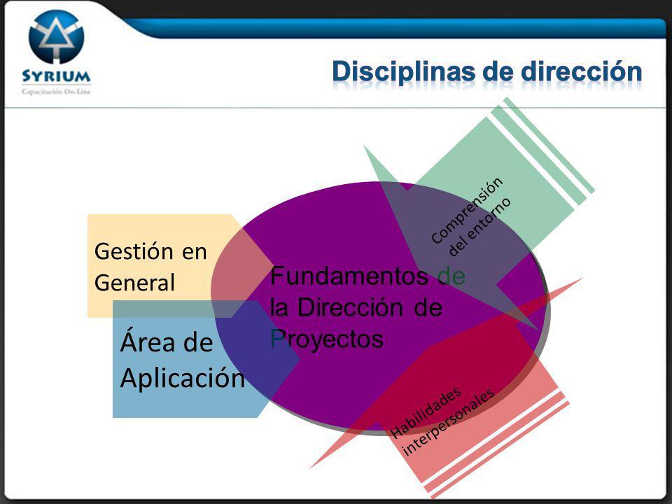 Dirección de Proyectos Fundamentos de la Dirección de Proyectos Gestión en General Área de Aplicación Habilidadesinterpersonales Comprensión del entorno