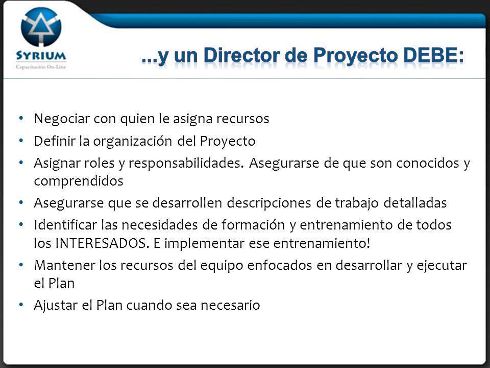 Negociar con quien le asigna recursos Definir la organización del Proyecto Asignar roles y responsabilidades.