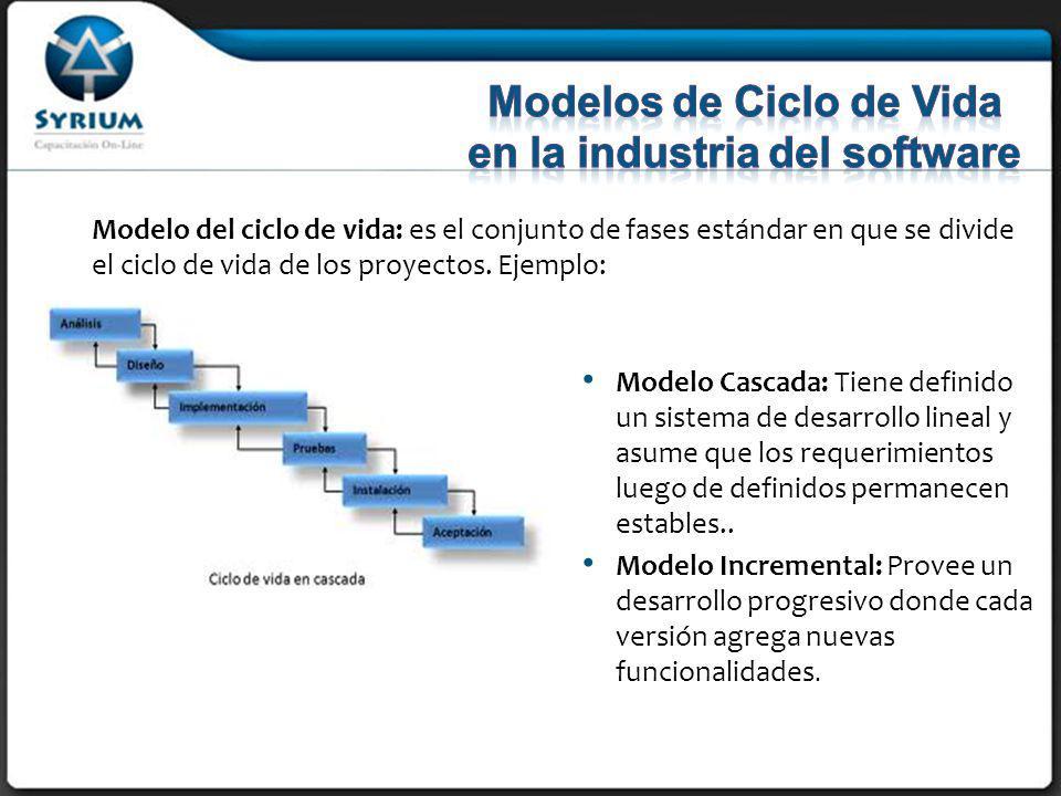 Modelo del ciclo de vida: es el conjunto de fases estándar en que se divide el ciclo de vida de los proyectos.