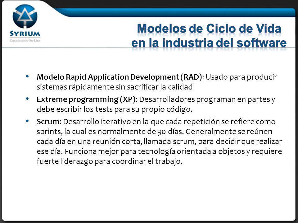 Modelo Rapid Application Development (RAD): Usado para producir sistemas rápidamente sin sacrificar la calidad Extreme programming (XP): Desarrolladores programan en partes y debe escribir los tests para su propio código.