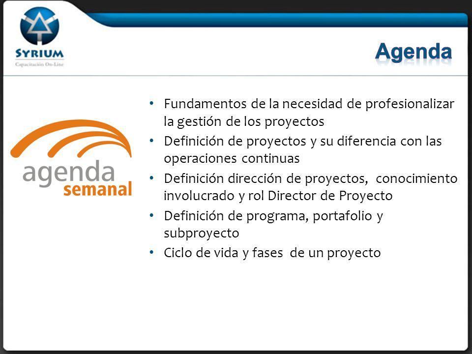Fundamentos de la necesidad de profesionalizar la gestión de los proyectos Definición de proyectos y su diferencia con las operaciones continuas Definición dirección de proyectos, conocimiento involucrado y rol Director de Proyecto Definición de programa, portafolio y subproyecto Ciclo de vida y fases de un proyecto