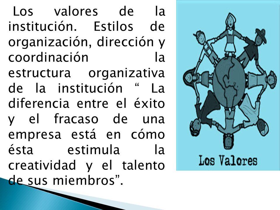 Los valores de la institución. Estilos de organización, dirección y coordinación la estructura organizativa de la institución La diferencia entre el é