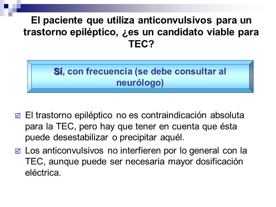 El paciente que utiliza anticonvulsivos para un trastorno epiléptico, ¿es un candidato viable para TEC? El trastorno epiléptico no es contraindicación