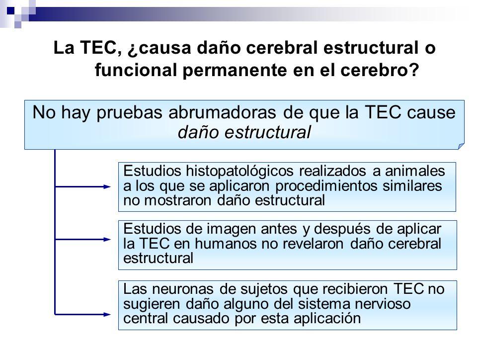 La TEC, ¿causa daño cerebral estructural o funcional permanente en el cerebro? daño estructural No hay pruebas abrumadoras de que la TEC cause daño es