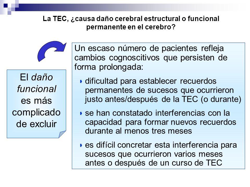La TEC, ¿causa daño cerebral estructural o funcional permanente en el cerebro? daño funcional El daño funcional es más complicado de excluir Un escaso