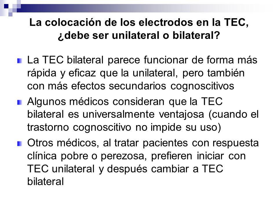 La colocación de los electrodos en la TEC, ¿debe ser unilateral o bilateral? La TEC bilateral parece funcionar de forma más rápida y eficaz que la uni