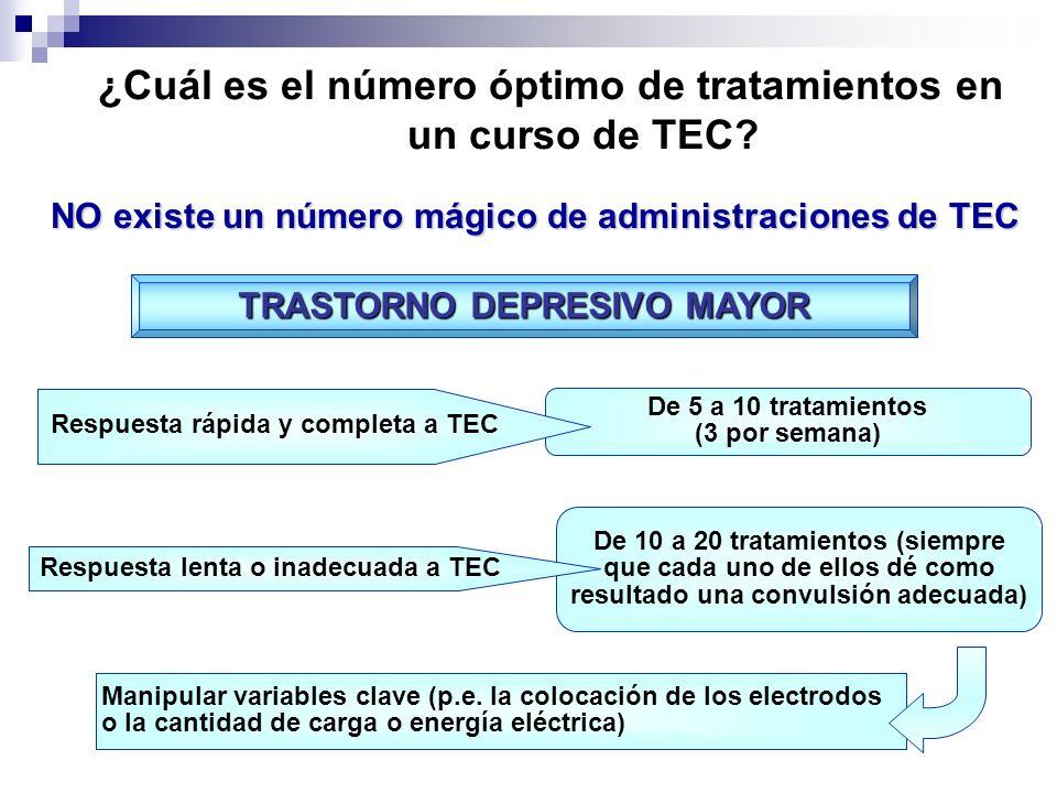 ¿Cuál es el número óptimo de tratamientos en un curso de TEC? NO existe un número mágico de administraciones de TEC De 5 a 10 tratamientos (3 por sema