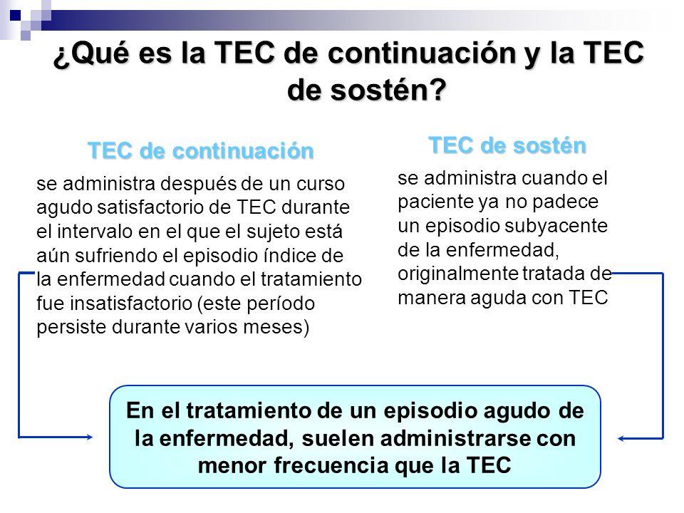¿Qué es la TEC de continuación y la TEC de sostén? TEC de continuación se administra después de un curso agudo satisfactorio de TEC durante el interva
