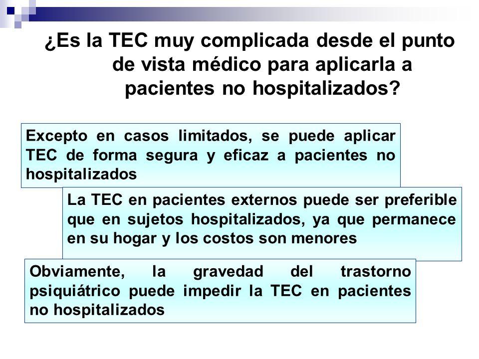 ¿Es la TEC muy complicada desde el punto de vista médico para aplicarla a pacientes no hospitalizados? Excepto en casos limitados, se puede aplicar TE