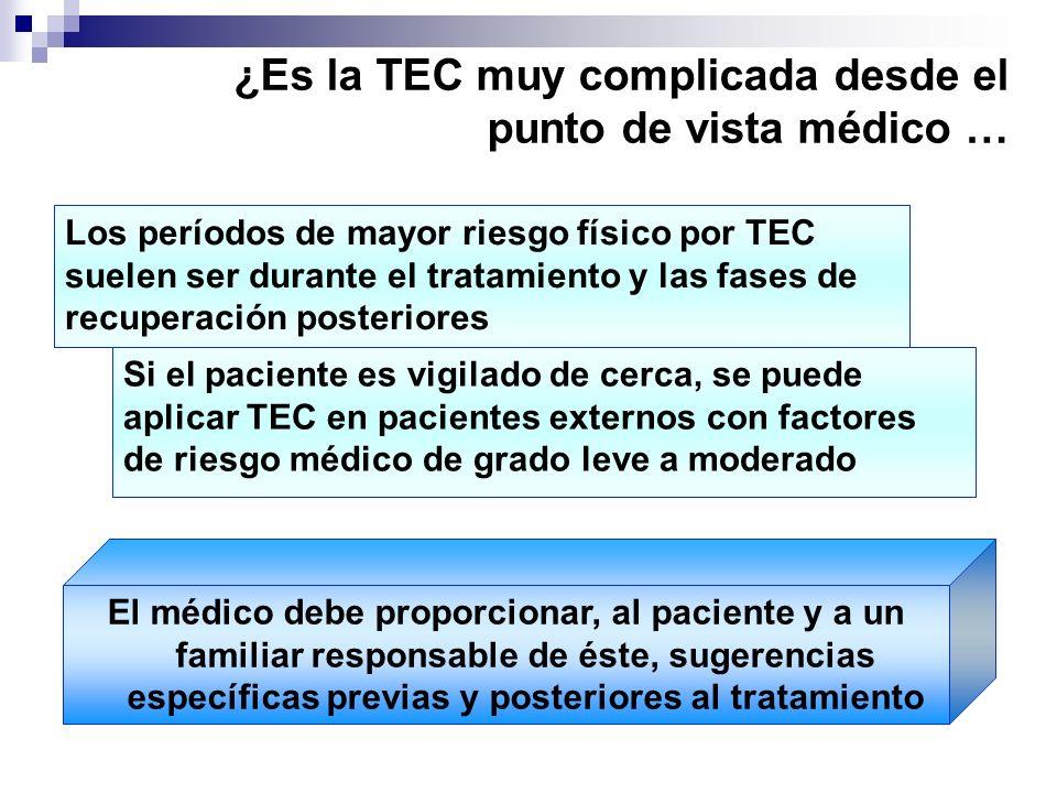 ¿Es la TEC muy complicada desde el punto de vista médico … El médico debe proporcionar, al paciente y a un familiar responsable de éste, sugerencias e