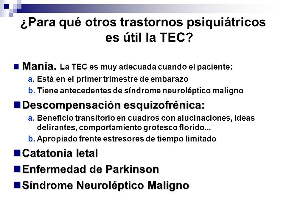 Manía. Manía. La TEC es muy adecuada cuando el paciente: a.Está en el primer trimestre de embarazo b.Tiene antecedentes de síndrome neuroléptico malig